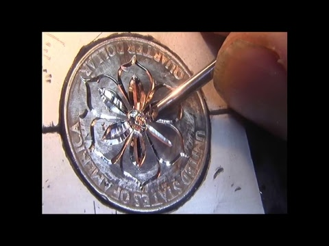 Hand engraving Quarter Dollar Bright cut Flower with the homemade hand engraving machine