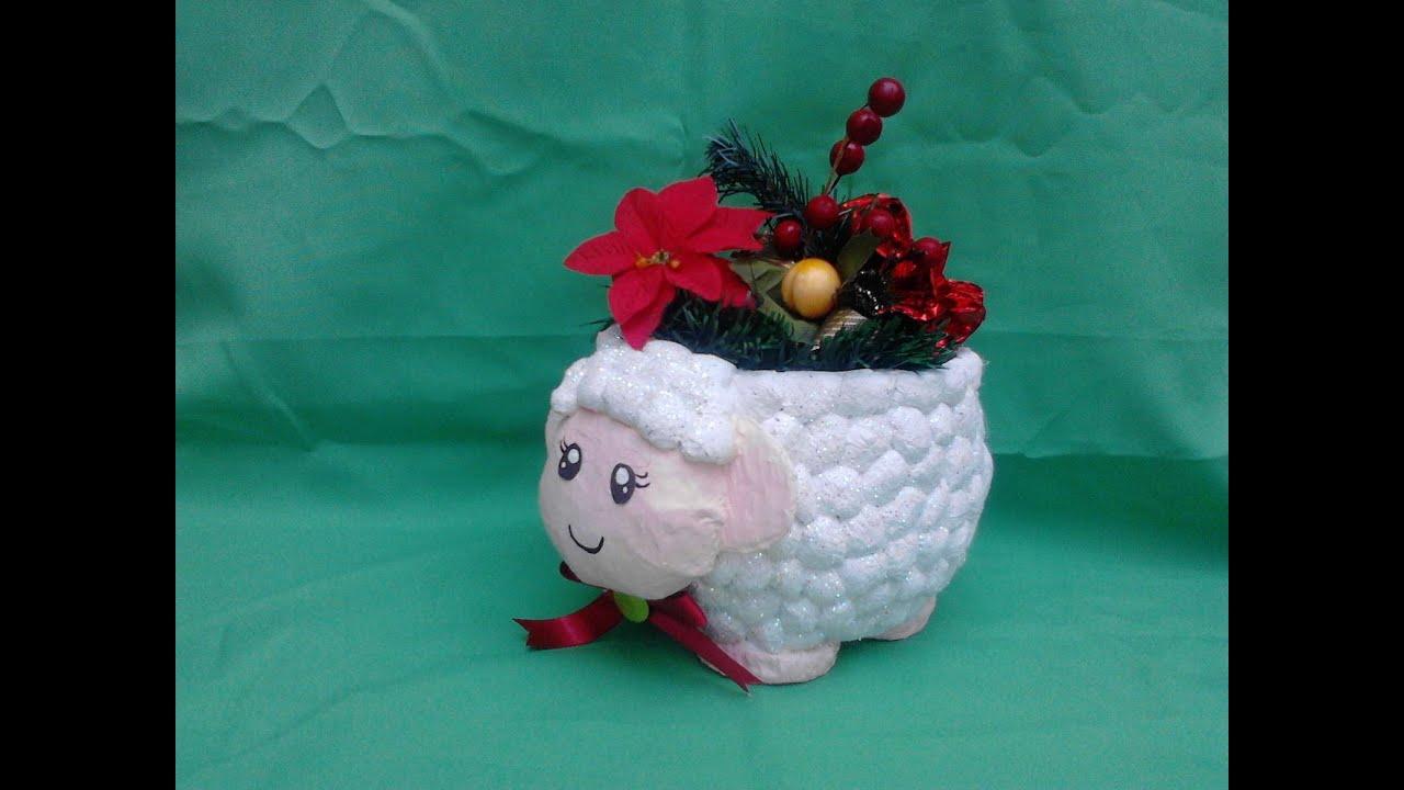 Oveja florero hecha de papel youtube - Como hacer una oveja ...