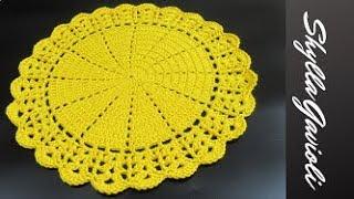 Sousplat de Crochê Leque e Ponto Alto Relevo Facil pap passo a passo grafico como fazer crochet how