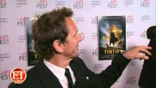 Tin Tin Premiere Steven Spielberg, Sebastian Roche Red Carpet interview.