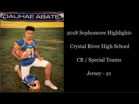 Diajhae Abate 2018 Sophomore Crystal River High School Football Highlights