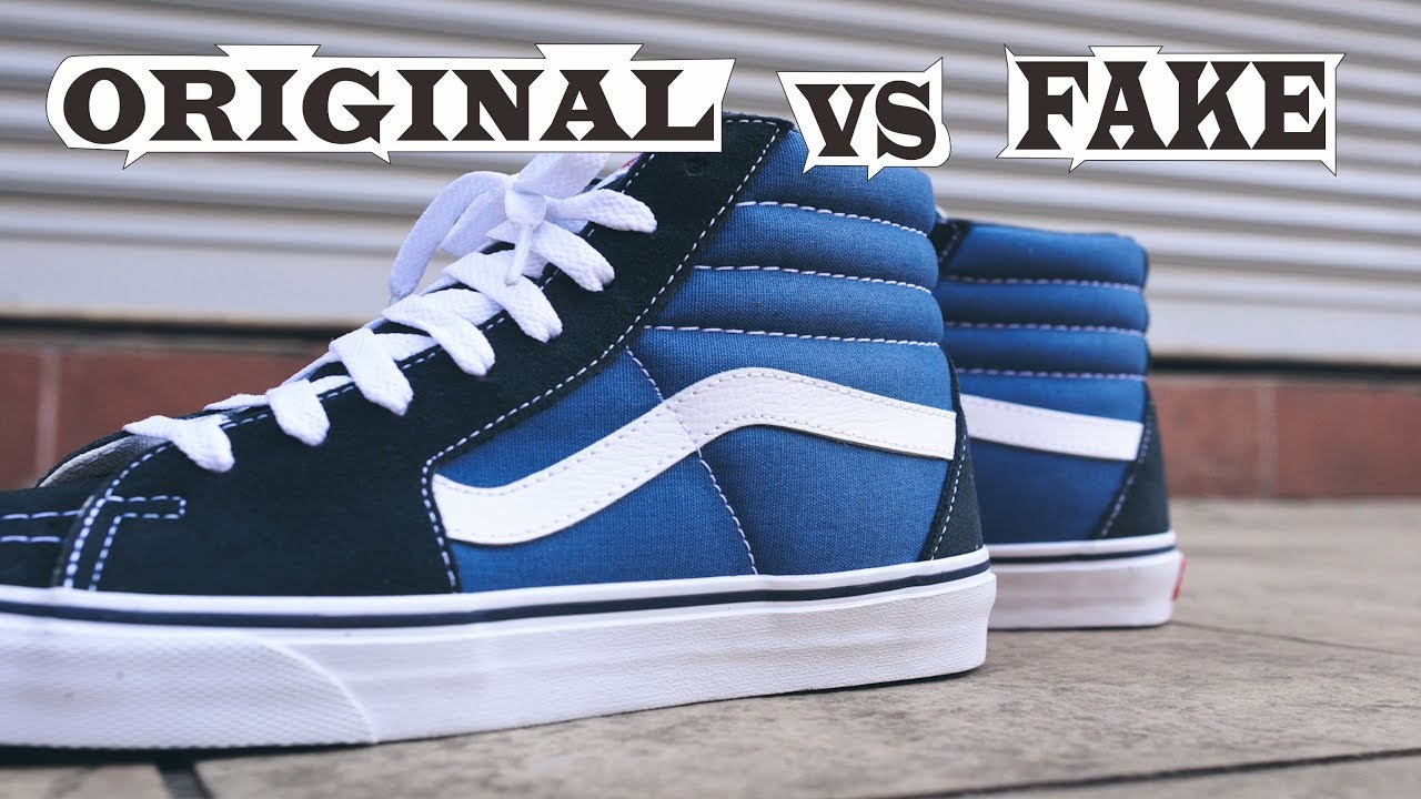 9f1eb68f35 Vans Old Skool Sk8 Hi Navy Original   Fake - YouTube