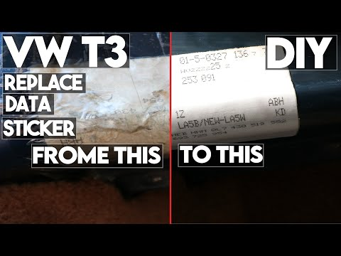DIY replace VW T3 DATA/OPTIONS sticker with new