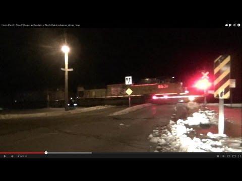 Union Pacific Salad Shooter in the dark at North Dakota Avenue, Ames, Iowa