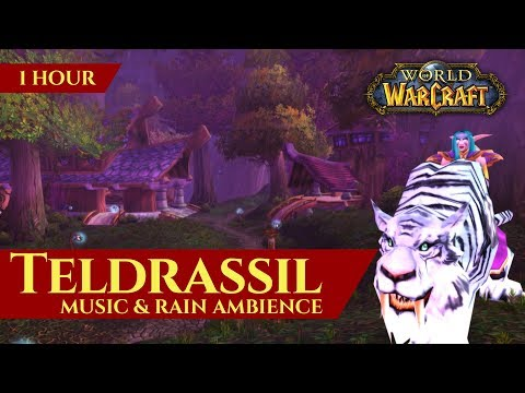 Vanilla Teldrassil Night Elf Music & Night Rain Ambience (1 hour, World of Warcraft Classic)