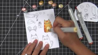 Meowy Christmas - Holiday Card Making and Copic Coloring