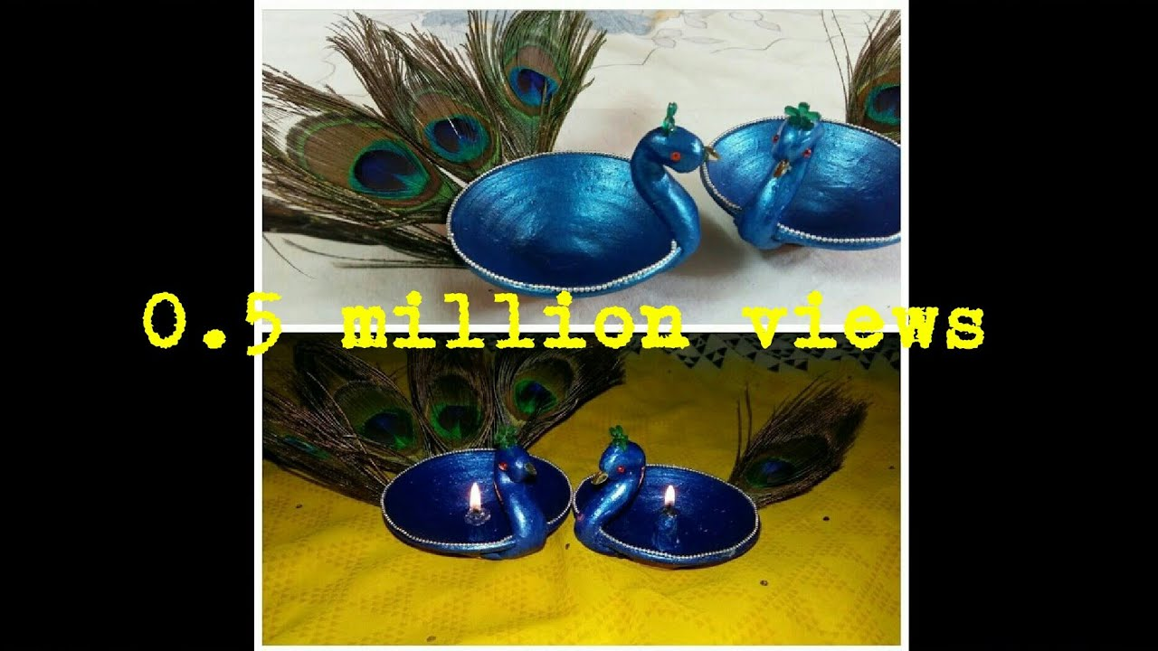 Diy beautiful peacock diya how to make easiest diwali diya for Diya decoration youtube