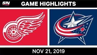 NHL Highlights   Red Wings vs. Blue Jackets – Nov. 21, 2019