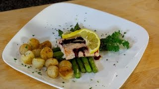 Grilled Salmon With Pommes Parisienne Potatoes & Asparagus