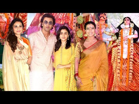 All Bollywood Celebs Durga Puja 2017 Full Video HD - Kajol,Rani Mukherjee,Ranbir Kapoor,Alia Bhatt