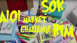 BİM, A101 ve ŞOK Market Alışveriş Challenge!! Okula Dönüş Alışverişim! Bidünya Oyuncak