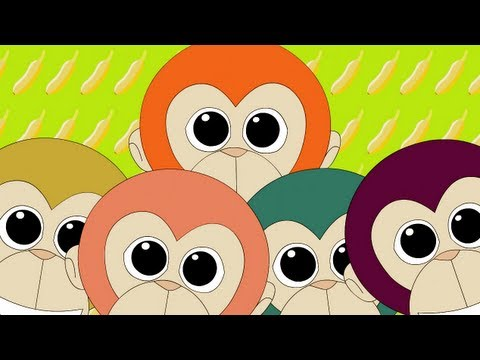 Thumbnail: Five Little Monkeys Jumping On The Bed Nursery Rhyme | Kids Animation Rhymes Song