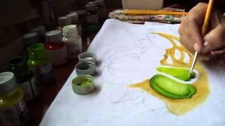 Pintura do chuchu e pimentas