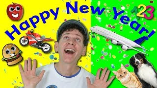 Happy New Year Action Song | Word Power - Numbers, Animals, Vehicles, Food | Learn English Kids