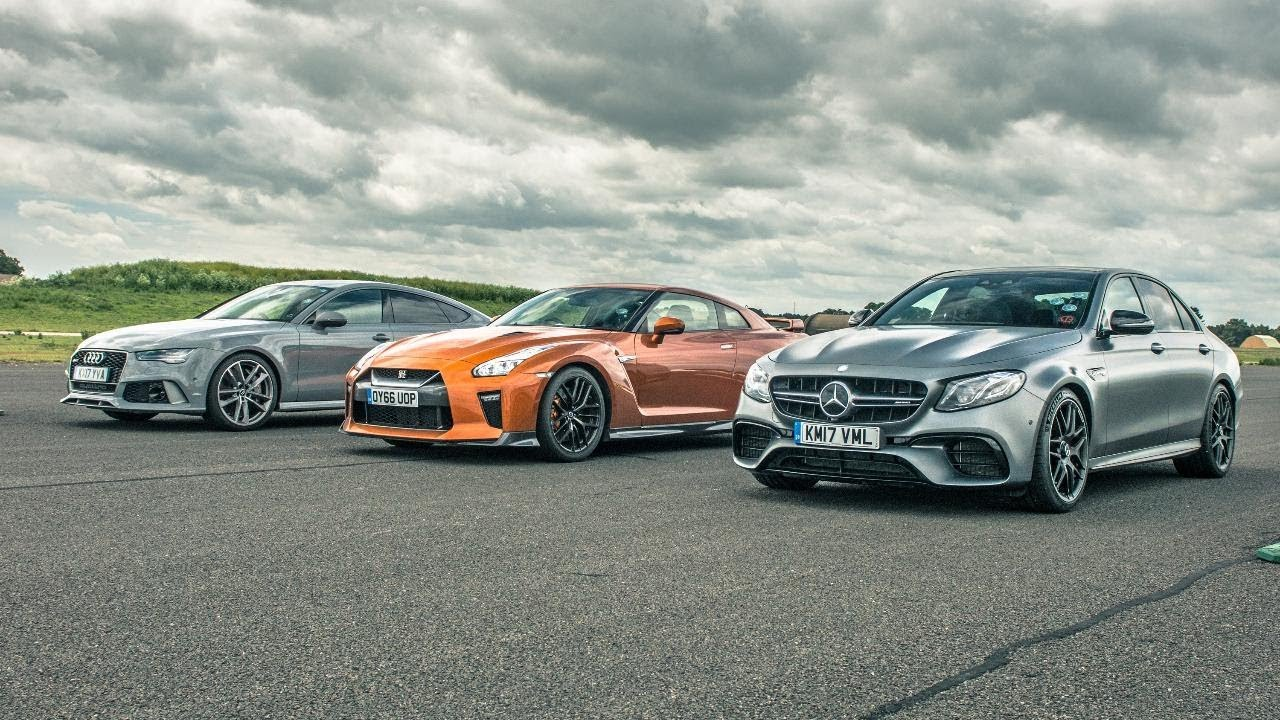 Nissan Gt R Vs Audi Rs7 Vs Merc E63 Amg Drag Races Top Gear