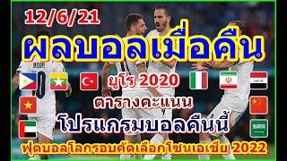 ผลบอลเมื่อคืน/ฟุตบอลชิงแชมป์แห่งชาติยุโรป 2020/ฟุตบอลโลกรอบคัดเลือกโซนเอเชีย 2022/ตาางคะแนน/12/6/21