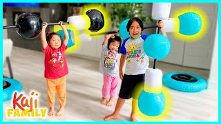 Ryan Emma and Kate Want to Be Strong around the house!!