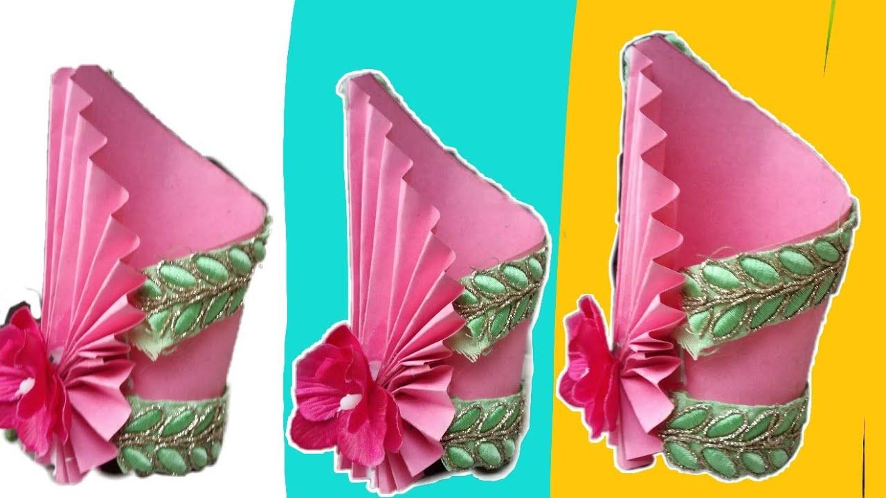 DIY easy flower pot | easy paper craft | flower vase / paper flower pot making #guldasta & DIY easy flower pot | easy paper craft | flower vase / paper flower ...