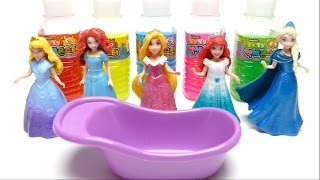 Disney Princess Toy Slime Bath Fun - Learn Colors