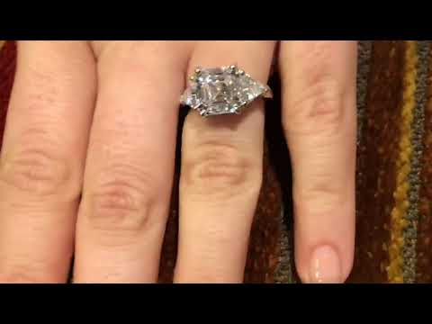 Asscher cut cz and triangle 3 stone ring 14k white gold -477-6939