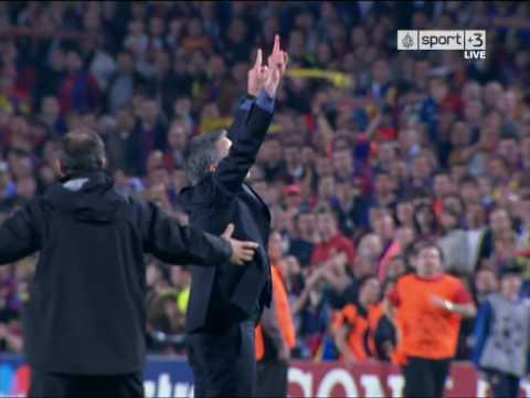 Celebración Mourinho Semifinal Champions League    Barcelona - Inter 28/04/2010