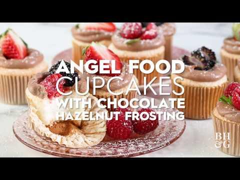 Angel Food Cupcakes with Chocolate-Hazelnut Frosting
