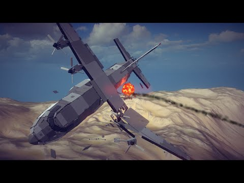 Realistic Airplanes Shot Down by Guided Missiles #1 | Besiege