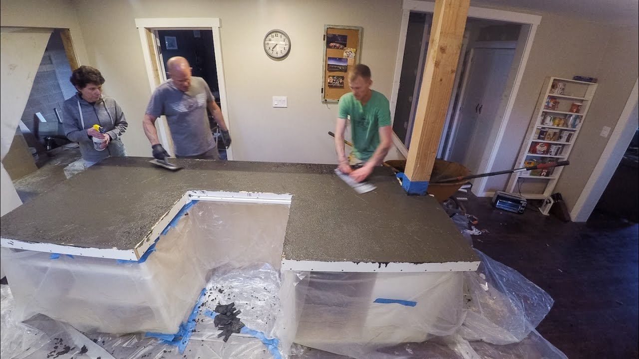 Kitchen Pour in Place Concrete Countertops  YouTube