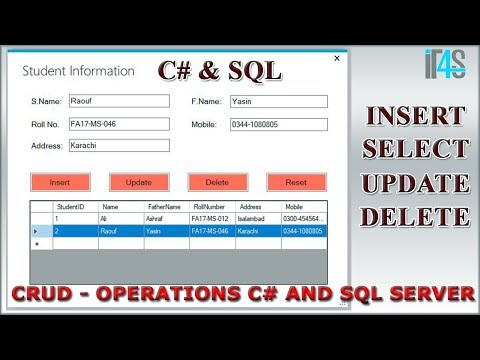 CRUD operations using C# and SQL Server database | Insert | Delete | Update | Select | Tutorial