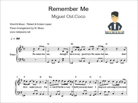 Miguel - Remember Me (piano sheet)