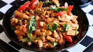 Thai Basil Leaf Chicken Recipe   Pad Kra Pao Gai   ผัดกระเพราไก่  Recipes