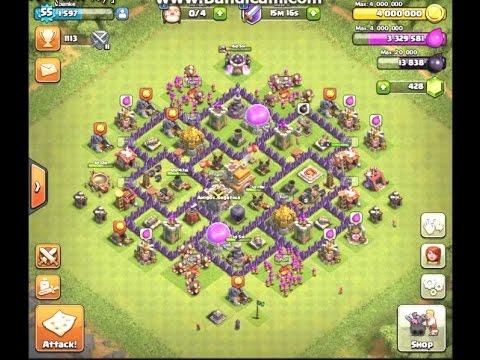 clash of clans layout cv 7 push troféus muito top replay youtube
