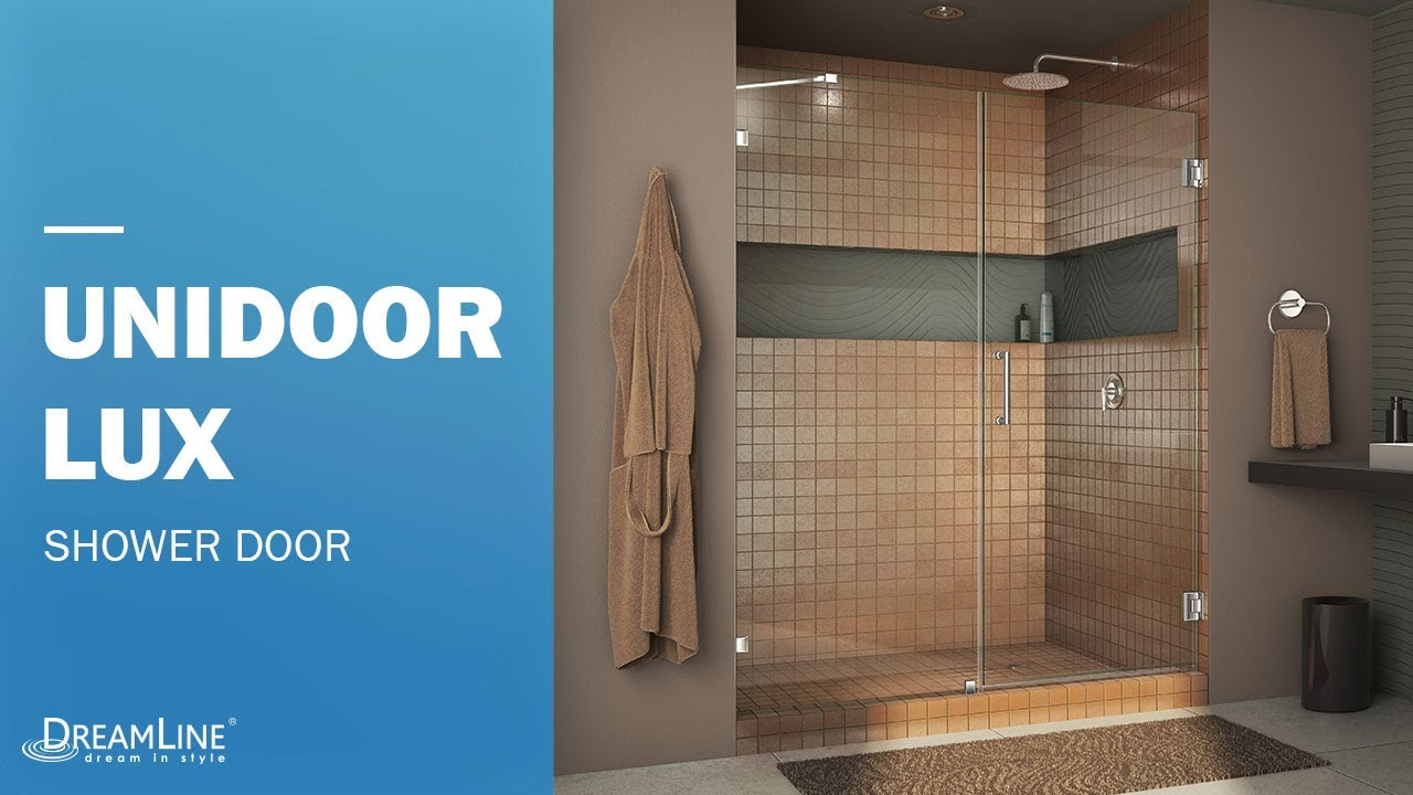 DreamLine Unidoor Lux Frameless Shower Door | Hinged Opening & DreamLine Unidoor Lux Frameless Shower Door | Hinged Opening - YouTube