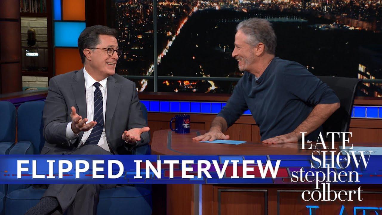 Jon Stewart S Flipped Interview With Stephen Colbert Youtube