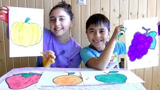 Guka and Maria Pretend Play - Learn Colors and Fruits Name with Finger Paint Finger Family Song