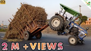 Tractor Accident | EICHER Tractor Hanged with Heavy Load Trailer | JCB Machine
