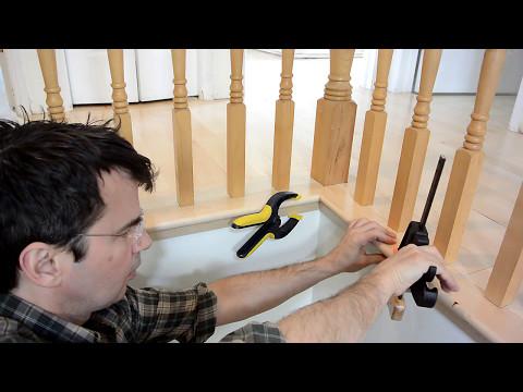 Hardwood flooring around stair spindles