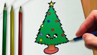 Como desenhar uma árvore de Natal kawaii