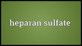 Heparan sulfate Meaning