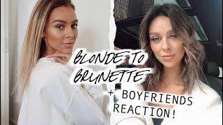 Blonde to Brunette + Boyfriends Reaction   HAIR TRANSFORMATION