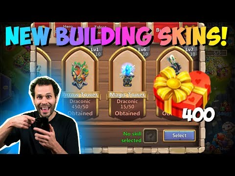 New Building Skins And Skills In Action + 400 Balloon Gifts Castle Clash