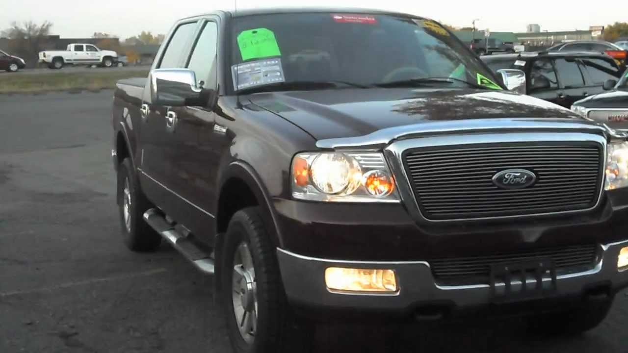 2004 ford f150 lariat crew cab 4x4 5 4 v8 leather dark red and clean