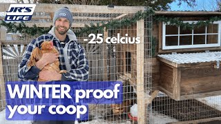 DIY Backyard Chicken C๐op in Winter | Taking care of chickens during Canadian winter | JR'S Life