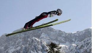 Мой первый прыжок на лыжах с трамплина. Miss ski my first jump at the ski jumping.