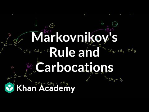 Markovnikov's rule and carbocations | Alkenes and Alkynes | Organic chemistry | Khan Academy