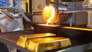 Extreme satisfying melting gold process. Incredible pure gold manufacturing technology.