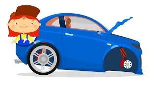 Car repair cartoons for children. The car doctor.