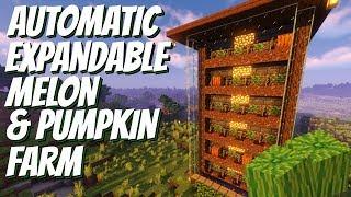 Automatic Melon & Pumṗkin Farm for Minecraft: Easy Minecraft Melon & Pumpkin Farm Minecraft 1.14+