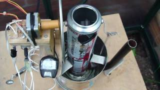 Stirling engine generator powering radio (approx 50mw)