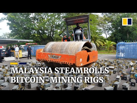 Malaysian police flatten US$1.25 million worth of bitcoin-mining machines with steamroller